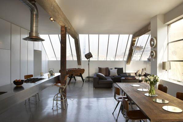Urban loft offene k che mit essbereich for Wohnideen loft style