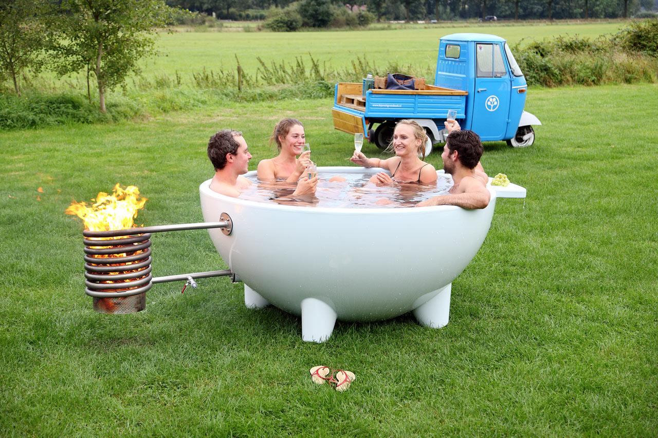 Wood Burning Hot Tub Heater Der Dutchtub: mobile Badewanne mit Heizung