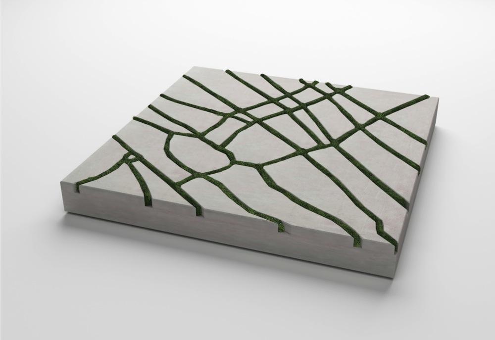 wandgestaltung betonfliesen mit moos. Black Bedroom Furniture Sets. Home Design Ideas