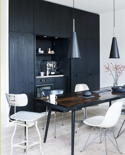 einrichten mit farben schwarz. Black Bedroom Furniture Sets. Home Design Ideas