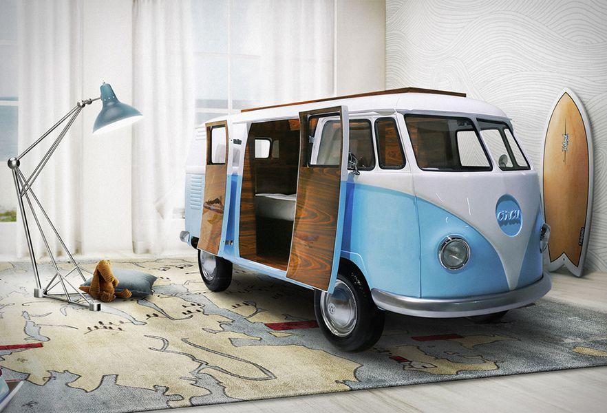 sch ner schlafen kinderbett im vw bus. Black Bedroom Furniture Sets. Home Design Ideas